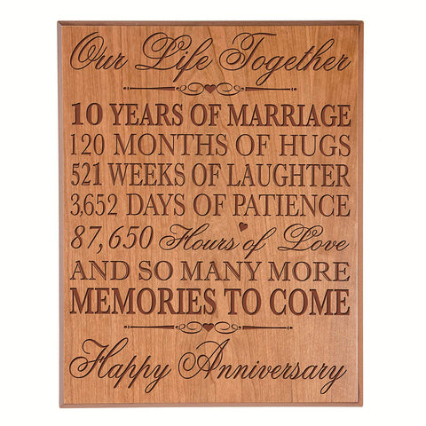"10th Wedding Anniversary Wall Plaque Gifts for Couple, 10th Anniversary Gifts for Her,10th Wedding Anniversary Gifts for Him 10.75"" W X 13"" H Wall Plaque By LifeSong Milestones"