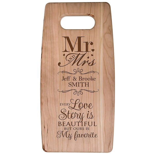 Personalized Cutting Board Wedding Gift for Mr & Mrs -Every Love Story