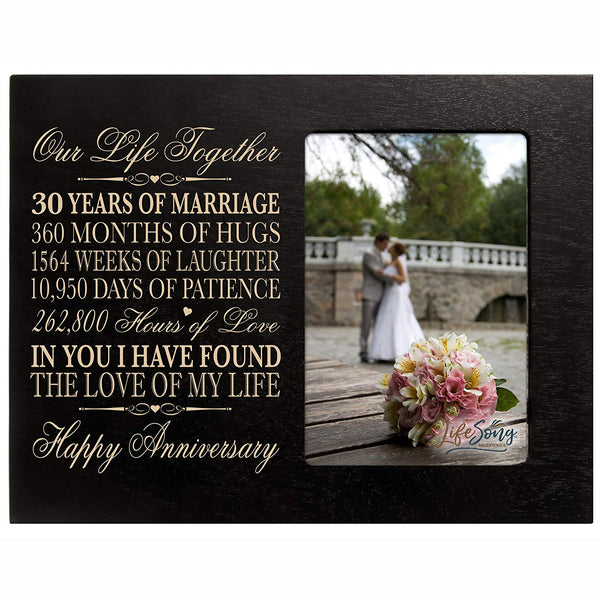 "30 Year Anniversary Picture Frame Gift for her him couple Custom Engraved 30th year wedding celebration for husband wife Photo Frame Holds 1 4x6 Photo 8"" H X 10"""