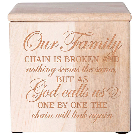 Cremation Urns for Human ashes - SMALL Funeral Urn Keepsake box for Pets - Memorial Gift for home or Columbarium Our Family chain is broken nothing seems the same Holds SMALL portion of ashes (Cherry)