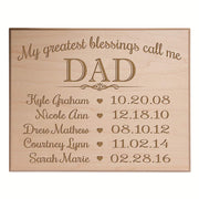 dad father sign plaque birthday gift wall decor children names family
