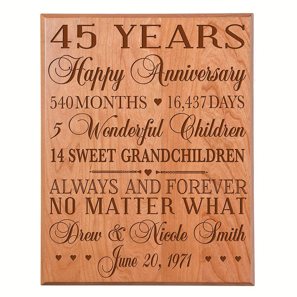 45th Wedding Anniversary Wall Plaque Personalized Engraving