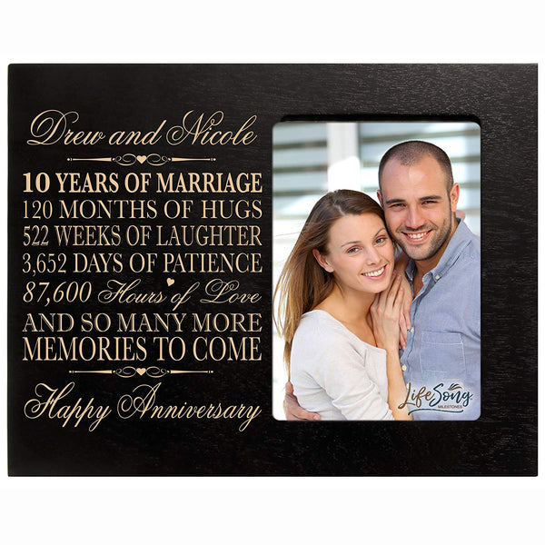 Personalized ten year anniversary gift her him couple Custom Engraved 10th year wedding celebration for husband wife girlfriend boyfriend frame holds 4x6 photo by LifeSong Milestones