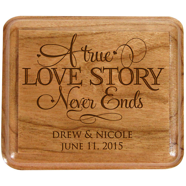Personalized Wooden Double Wedding Ring Box - A True Love Story Never Ends