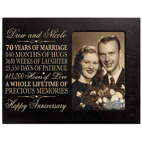 "Personalized 70th Year Wedding Anniversary Gift for Couple Custom engraved 70th Wedding Anniversary Celebration Gift Frame Holds 1 4x6 Photo 8"" H X 10"" W"