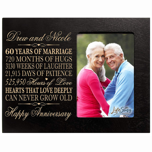 "Personalized 60th Year Wedding Anniversary Gift for Couple Custom engraved 60th Wedding Anniversary Celebration Gift Frame Holds 1 4x6 Photo 8"" H X 10"" W"