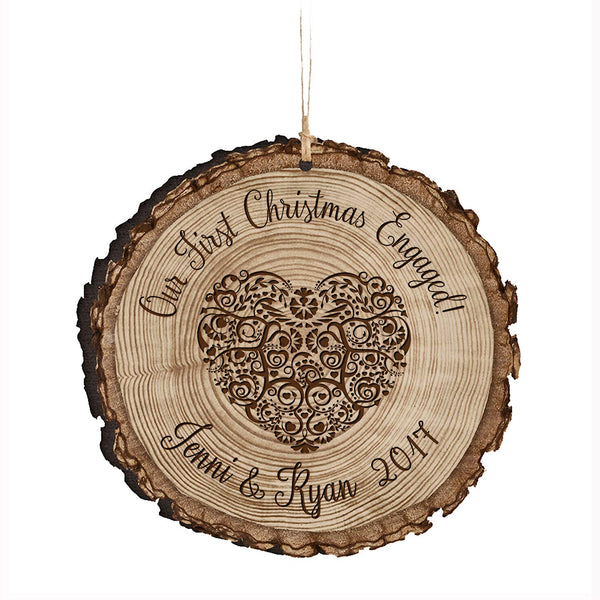 Personalized Couple Christmas Engaged Ornaments Our First Christmas