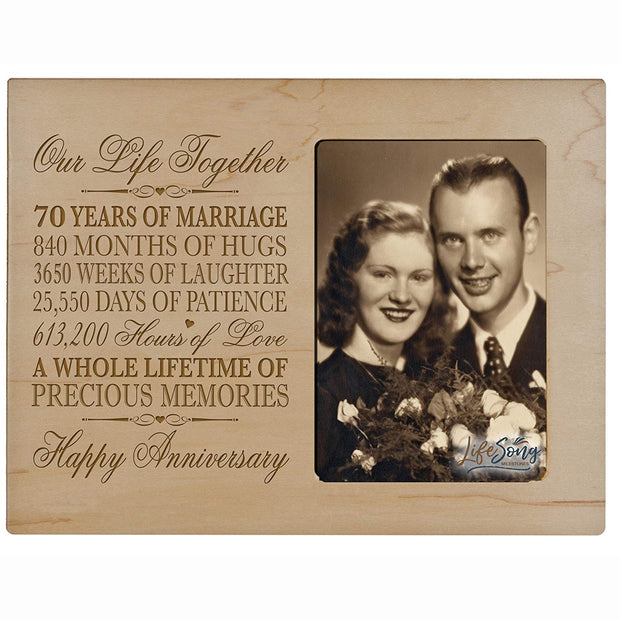 70th Anniversary Photo Frame - Our Life Together Maple