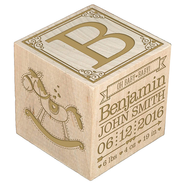 Baby Birth Announcement Wooden Block – Personalized and Engraved
