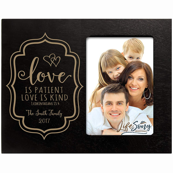 Personalized Valentine's Day Photo Frame Gift Custom Engraved ideas for couple Love is PATIENT Love is KIND 1 Corinthians 13:4 Frame holds 4 x 6 picture