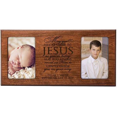 Personalized 1st Communion Blessings Photo Frame - May You Feel as Close to Jesus as You Do Today (Black)