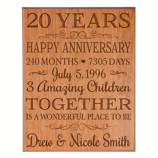 Personalized 20th Anniversary Wall Plaque - Together Is A Wonderful Place Cherry Veneer