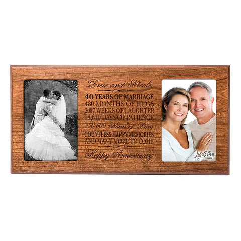 Personalized 40th Anniversary Double Photo Frame - Happy Anniversary Cherry