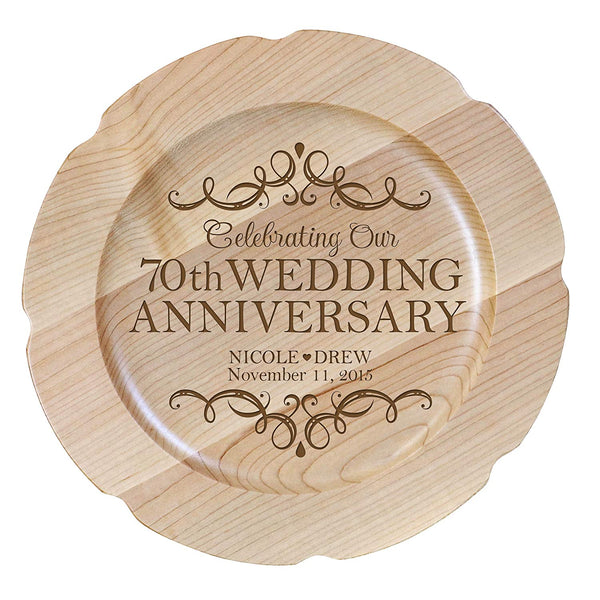 "Personalized 70th Wedding Anniversary Plate Gift for Couple, Custom Happy Seventieth Anniversary Gifts for Her 12"" D Custom Engraved for Husband or Wife USA Made"