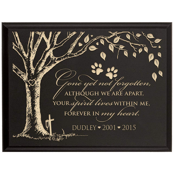 Personalized Pet Memorial Gift, Sympathy Wall Plaque, Gone Yet Not Forgotten, Custom Engraved Plaque measures 6x8 by LifeSong Milestones USA Made
