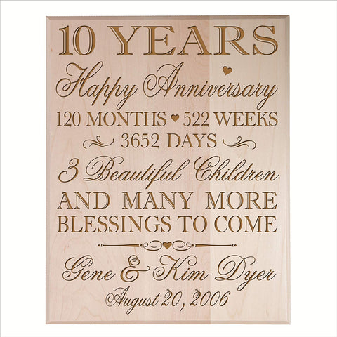 Personalized 10th Anniversary Wall Plaque - Happy Anniversary Maple Solid