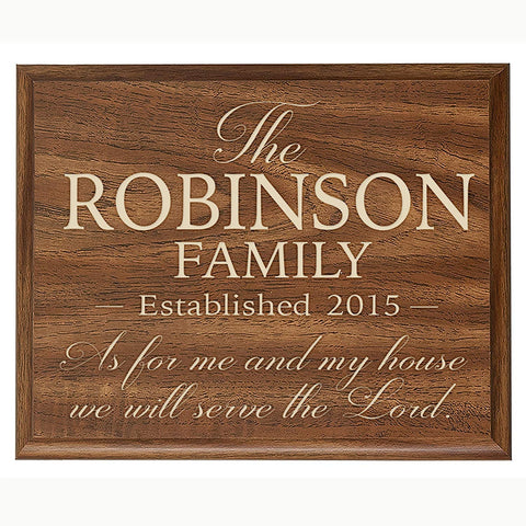 Personalized Wall Décor Plaque - As for Me and My House We Will Serve the Lord