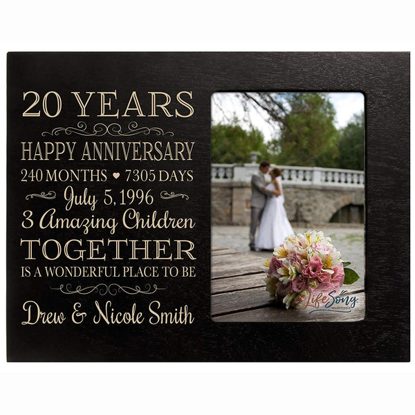 Personalized Twenty year anniversary gift for her him couple Custom Engraved wedding gift for husband wife girlfriend boyfriend photo frame holds 4x6 photo by LifeSong Milestones