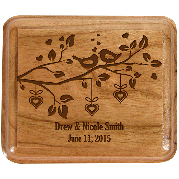 "Personalized Wedding Ceremony Ring Box ""Birds"""