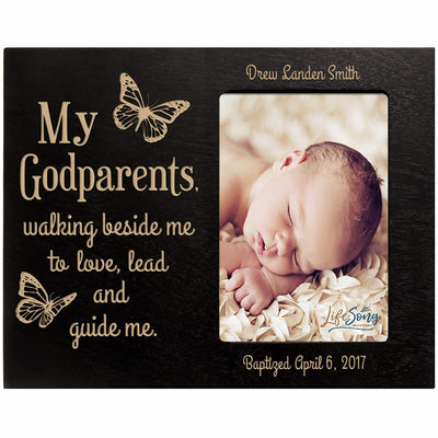 Personalized Godparents Gift Photo Frame - Walking Beside Me Black