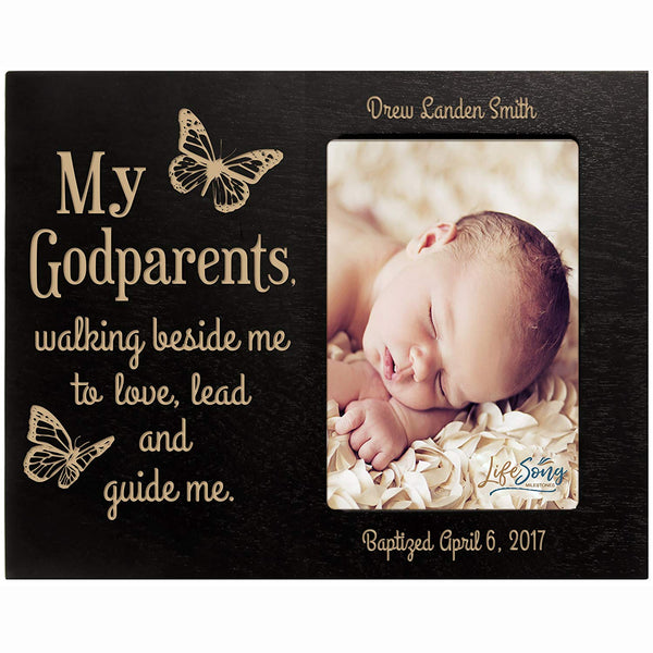 Personalized Godparent Gifts from Godchild Baptism Confirmation Communion My Godfather walking beside me Photo Frame holds 4x6 photo by LifeSong Milestones