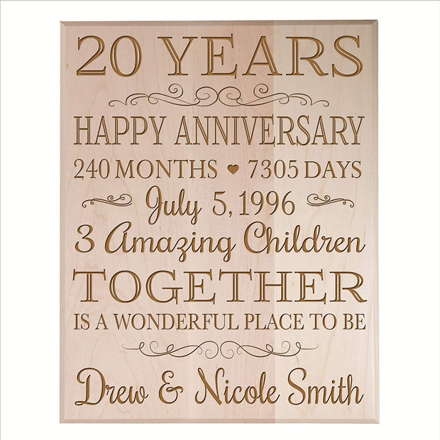 Personalized 20th Anniversary Wall Plaque - Together Is A Wonderful Place Maple Solid