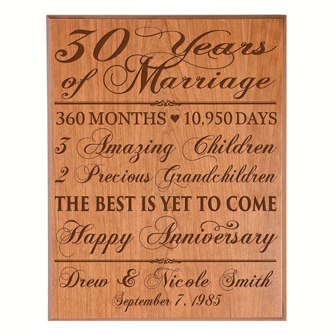 Personalized 30th Anniversary Wall Plaque - The Best Is Yet To Come Cherry Veneer