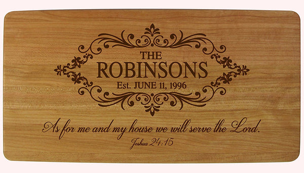 Cherry Cutting Board - Family Name with Established Year - As for Me and My House