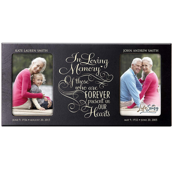 Personalized Memorial Sympathy Picture Frame, In Loving Memory Of Those Who Are Forever Present In Our Hearts, Custom Frame Holds Two 4x6 Photos, Made In USA by LifeSong Milestones