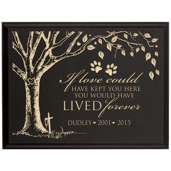 Personalized Pet Memorial Gift, Sympathy Wall Plaque, If Love Could Have Kept You Here You Would Have Lived Forever, Custom Engraved Plaque measures 6x8 by LifeSong Milestones USA Made