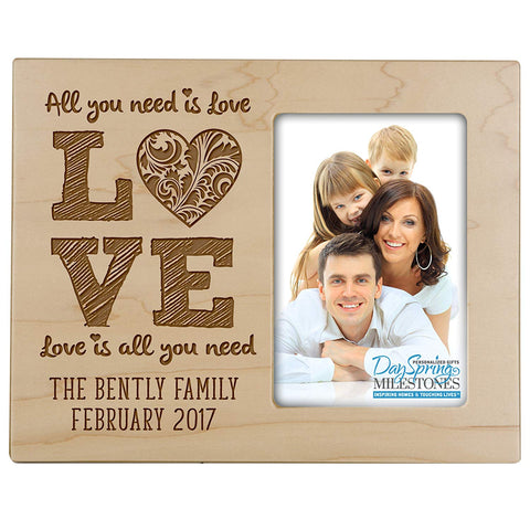all you need is love gift family frame picture maple