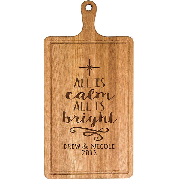 Personalized Christmas Cherry Cutting Board All Is Calm