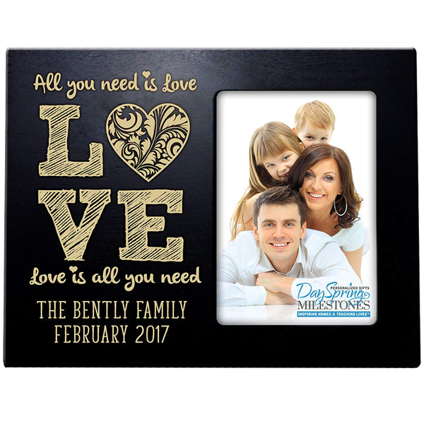 all you need is love gift family frame picture black