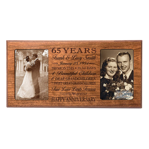 Personalized 65th Year Anniversary Double Photo Frame Cherry