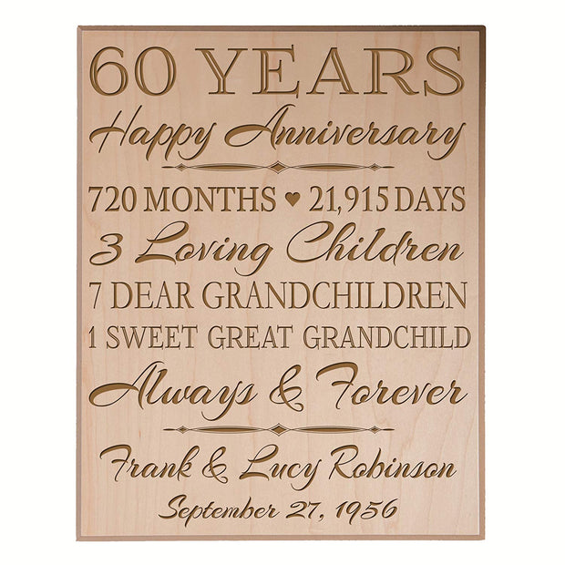 Personalized 60th Anniversary Wall Plaque - True Love Lasts Forever Maple Veneer