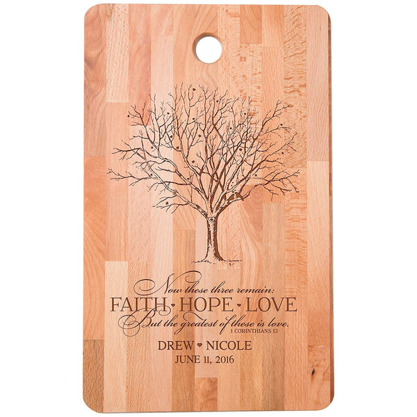 "Personalized bamboo Cutting Board reads FAITH HOPE LOVE Greatest of these is Love for bride and groom Wedding Anniversary Gift Ideas for Him, Her, Couples Established Dates to Remember 11""w x 18""h"