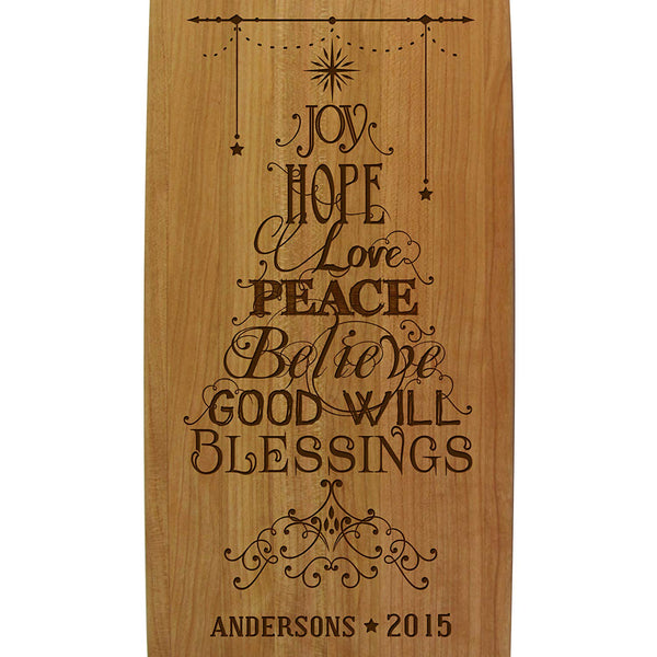 Personalized Christmas Solid Cherry Wood Cutting Boards Customized Joy Hope Peace Believe Good Will Blessings with Family Name and Year Established