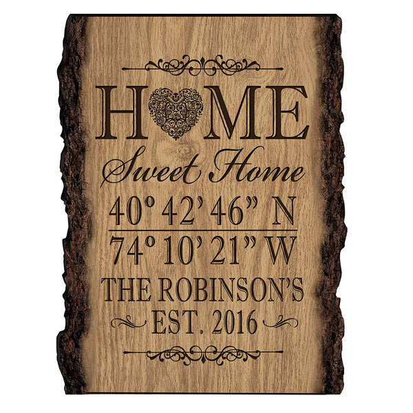 Personalized Home Coordinates Latitude Longitude Barky Wall sign with Family last Name and Date Established Home Sweet Home by LifeSong Milestones (9x12)
