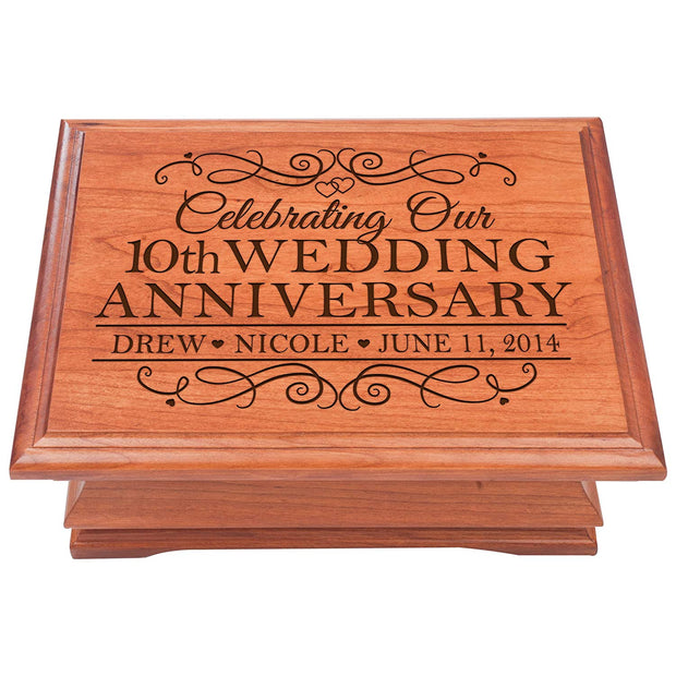 10th Wedding Anniversary Jewelry Box Personalized with Names