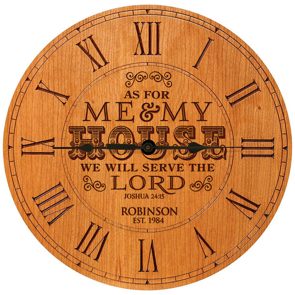 "Personalized Decorative Desk Wall Clock Wedding Anniversary Gift Parents Grandparents Housewarming As for me and my House We will serve the Lord 12""x12"" By LifeSong Milestones"