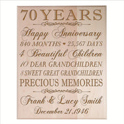 Personalized 70th Anniversary Wall Plaque - Precious Memories Maple Solid