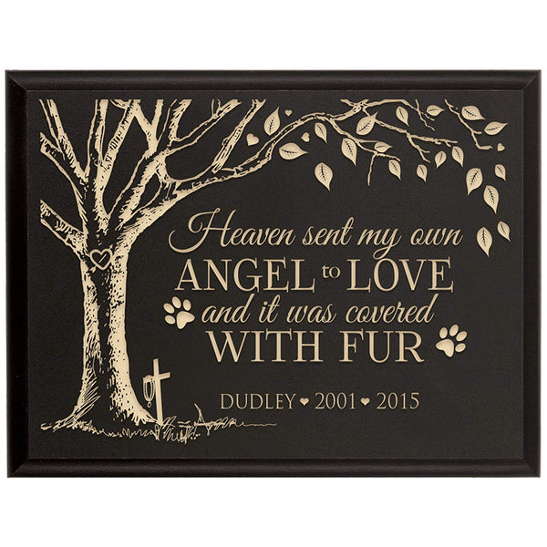 Personalized Pet Memorial Gift, Sympathy Wall Plaque, Heaven Sent My Own Angel To Love, Custom Engraved Plaque measures 6x8 by LifeSong Milestones USA Made