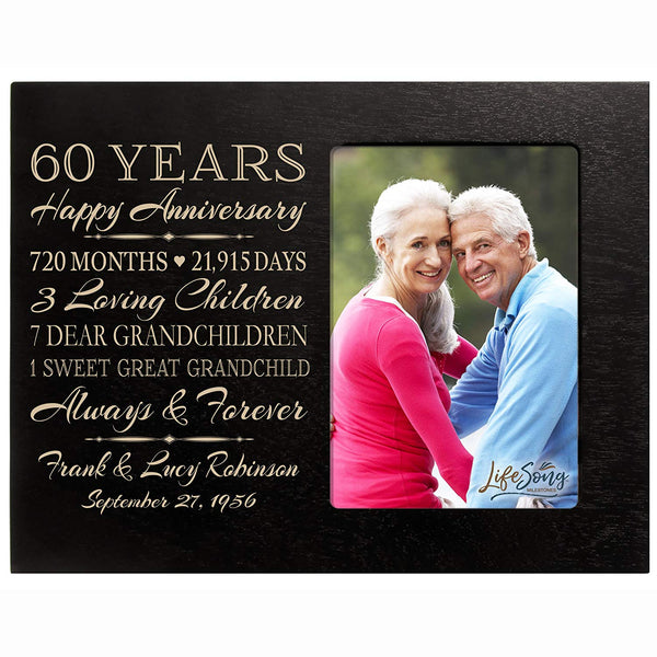 LifeSong Milestones Personalized Sixtieth year anniversary gift for her him couple Custom Engraved wedding gift for husband wife girlfriend boyfriend photo frame holds 4x6 photo