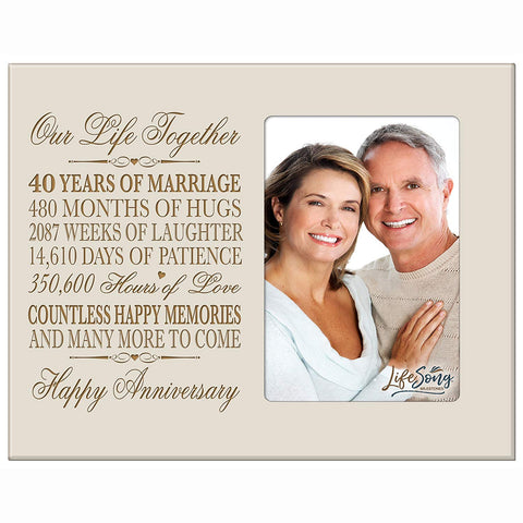 40th Anniversary Photo Frame - Our Life Together Ivory