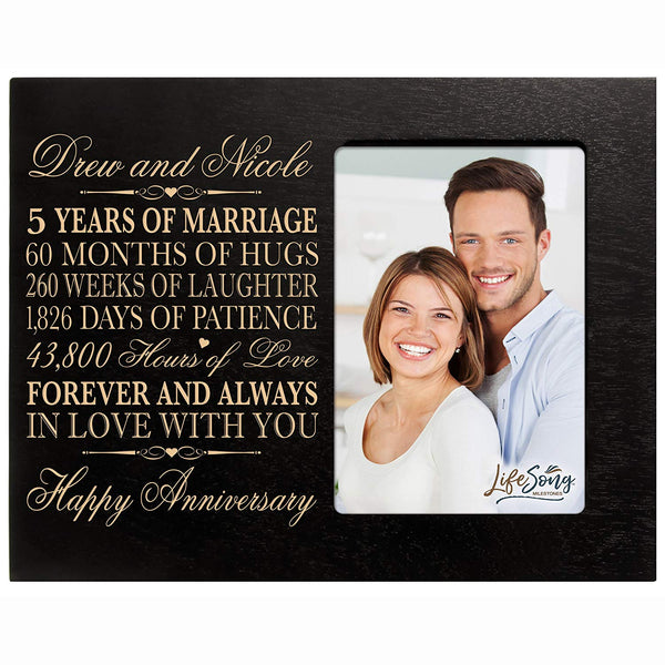Personalized five year anniversary gift her him couple Custom Engraved 5th year wedding celebration for husband wife girlfriend boyfriend frame holds 4x6 photo by LifeSong Milestones