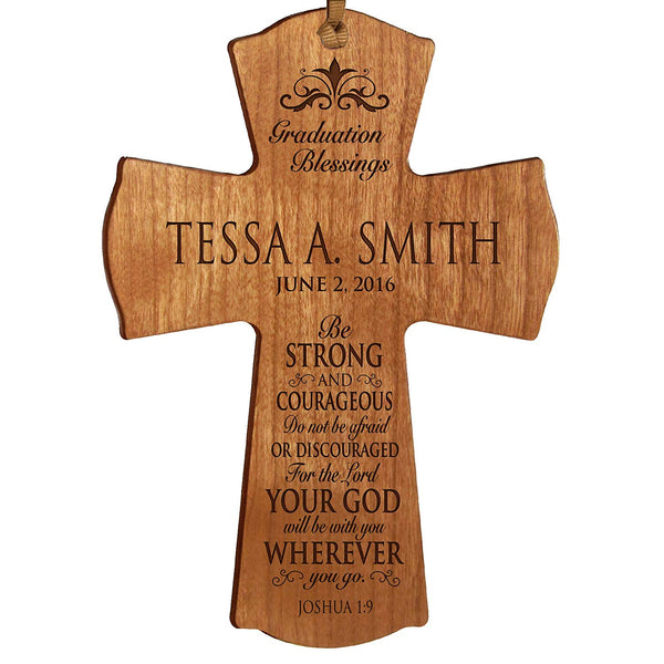 "LifeSong Milestones Personalized Graduation gifts for graduate ideas for men and women custom wall cross Be Strong and Courageous Joshua 1:9 (4.5"" x 6"", Cherry)"