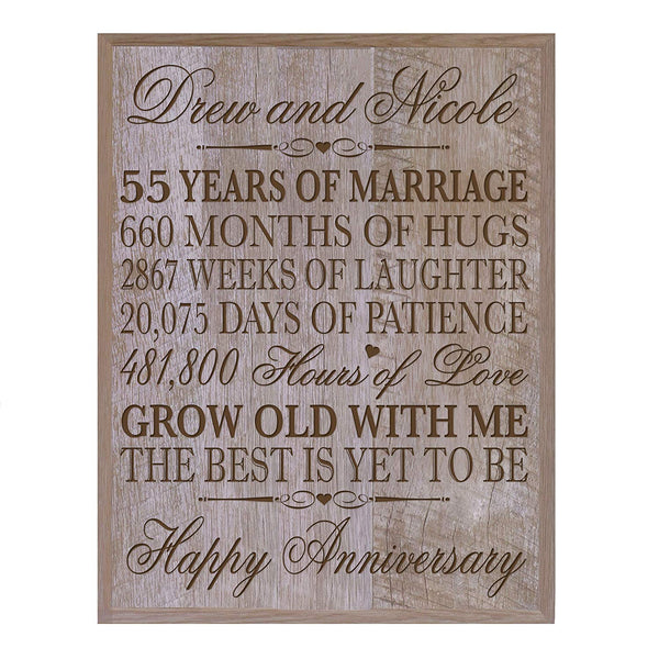 "Personalized 55th Wedding Anniversary Wall Plaque Gifts for Couple, Custom Made 55th Anniversary Gifts for Her,55th 12"" W X 15"" H Wall Plaque By LifeSong Milestones (Barnwood)"