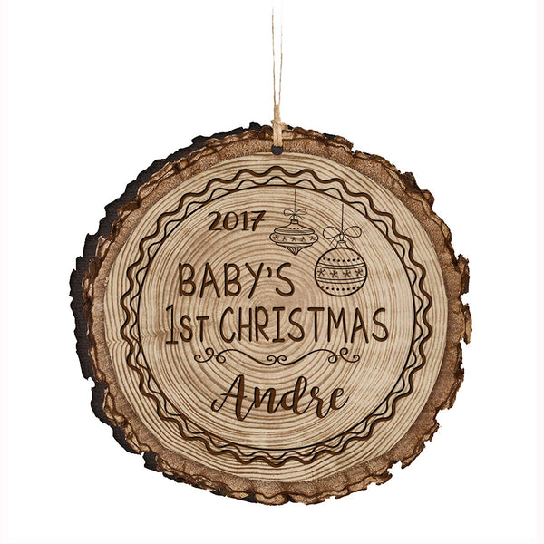 "Personalized Baby's First Christmas Ornament New Parent gift ideas for newborn boys and girls Custom engraved ornament for mom dad and grandparents 3.75"" (Baby's 1st Christmas)"