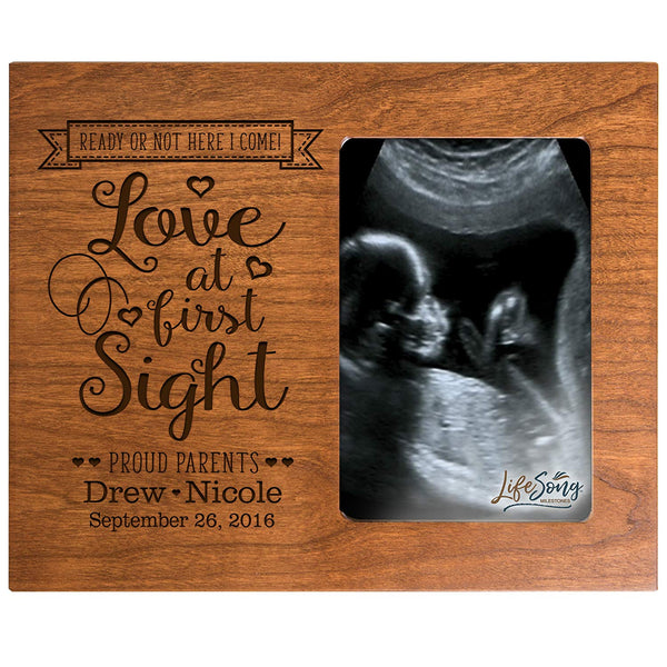 Personalized New Baby Sonogram picture frame for boys and girls Love at first sight Ultrasound photo frame for Expecting Mother new parents nana,mimi and grandparents (Cherry)