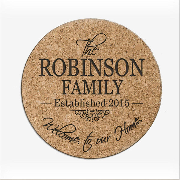 Personalized Cork Bar Drink Coaster custom Welcome to Our Home Family establshed last Name and year Gift for Parents Anniversary Absorbent and Reusable 7-Inches, 1/8-Inch by LifeSong Milestones